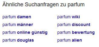 Bild ähnliche Suchanfragen zu Parfum bei Google