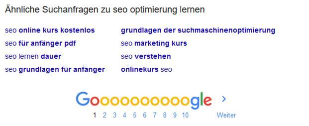 Bild Google zu ähnlich Suchanfragen SEO Optimierung lernen