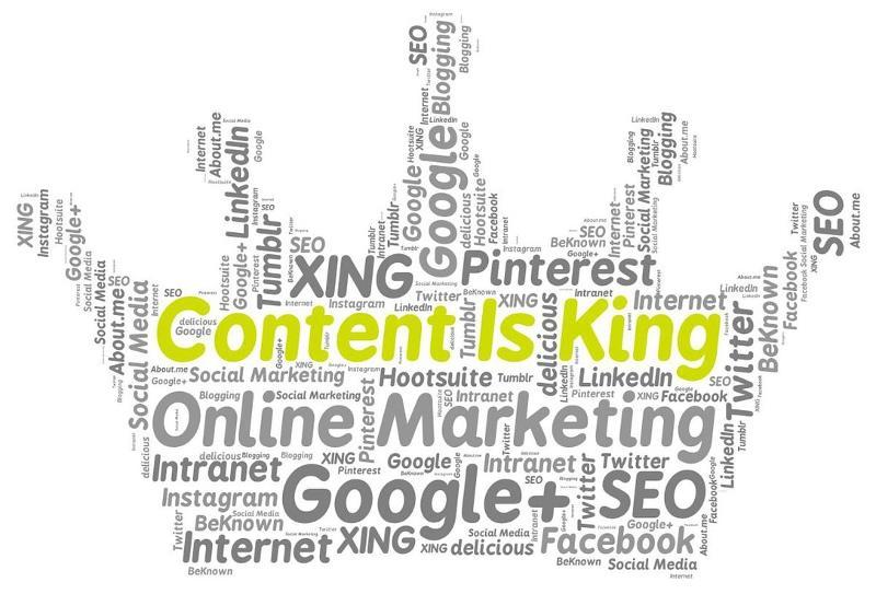 Bild mit Krone und SEO-Begriffen für Content is King