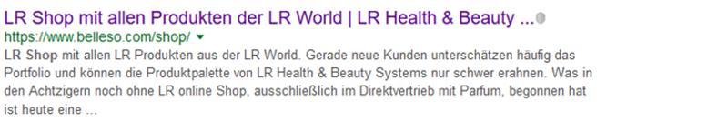 Bildschirmausdruck Ergebnis der Suchanfrage bei Google nach LR Shop