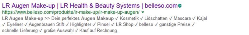 Anzeige von Google zu LR Augen Make-Up