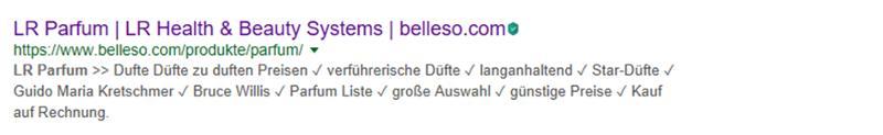 Google Suchergebnis LR Parfum