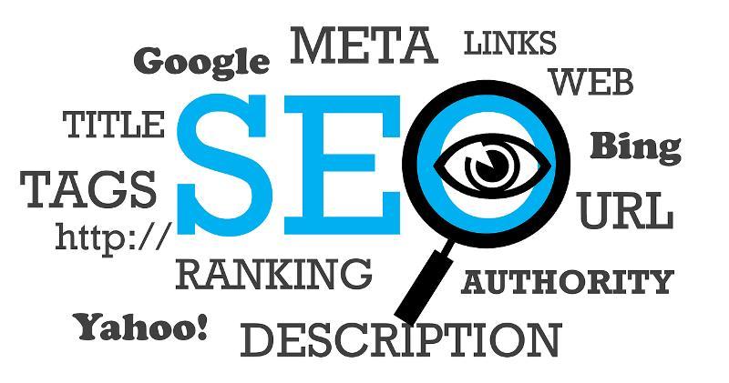 Grafik mit verschiedenen SEO Begriffe, z. B. Titel Optiemierung Website