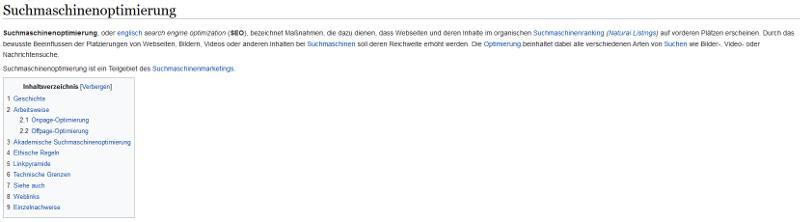 Bildschirmausschnitt Wikipedia zur Suchmaschinenoptimierung