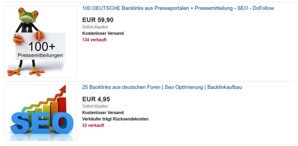 Ausschnitt von der eBay Seite zum Thema Backlinks kaufen bei eBay