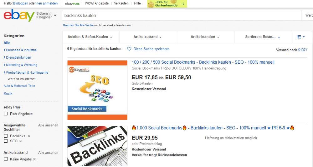 Bildschirmausschnitt eBay zum Thema darum macht Backlinks kaufen bei eBay keinen Sinn