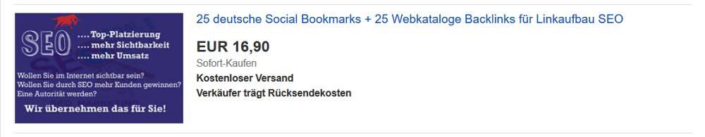 Bildschirmausschnitt von der eBay-Seite zum Thema darum macht Backlinks kaufen bei eBay keinen Sinn