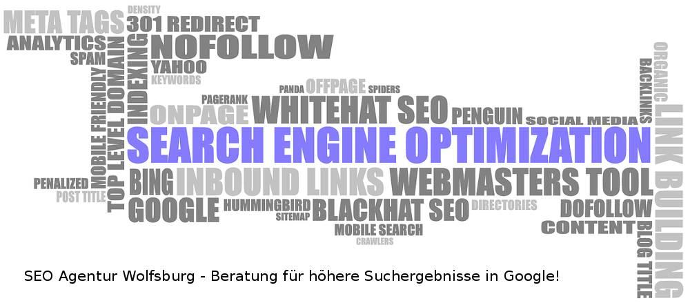 Auf dem Bild befindet sich das Werbeschlagwort von der SEO Firma Wolfsburg