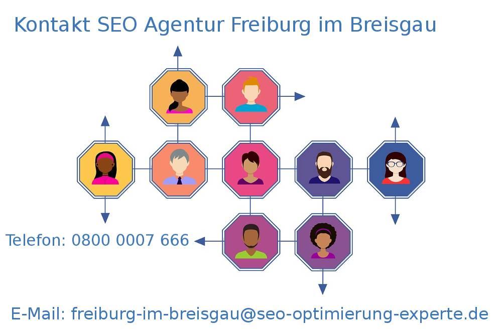 Auf dem Bild befinden sich die Kontakte von der SEO Firma Freiburg im Breisgau