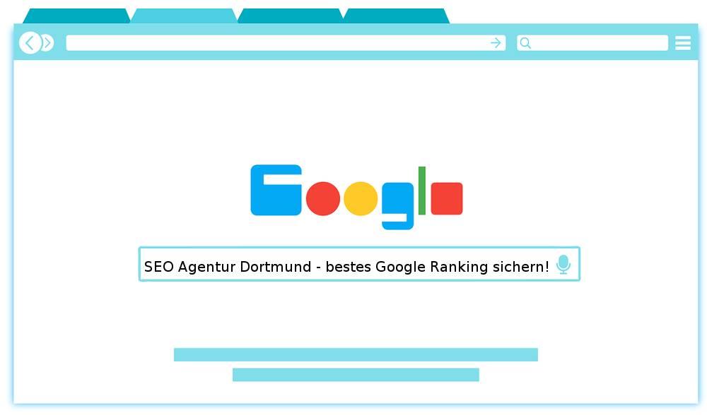 Auf der Collage finden Sie das Werbeschlagwort Ihrer SEO Agentur Dortmund