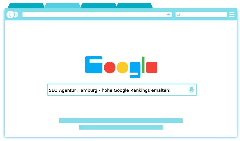 Auf dem Bild finden Sie das Werbeschlagwort der SEO Agentur Hamburg