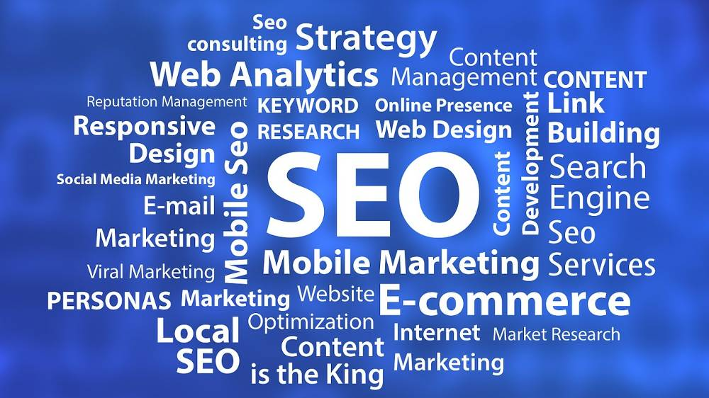Collage mit Suchbegriffen zum Thema SEO Agentur NRW – Hilfe bei Webseitenoptimierung & Suchmaschinenoptimierung