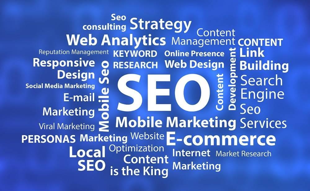 Grafik mit verschiedenen Online-Marketing-Begriffen zum Thema SEO Agentur Bayern – Suchmaschinenoptimierung & SEA für München